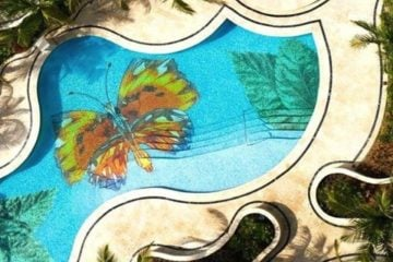 Handmade pool mosaic artwork