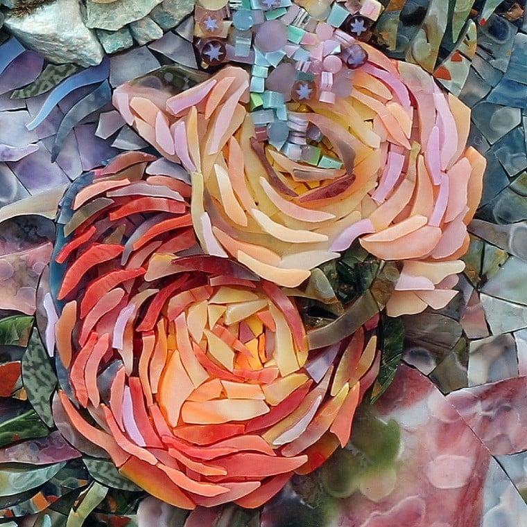 Floral Mosaic Artwork in beautiful pastel tones