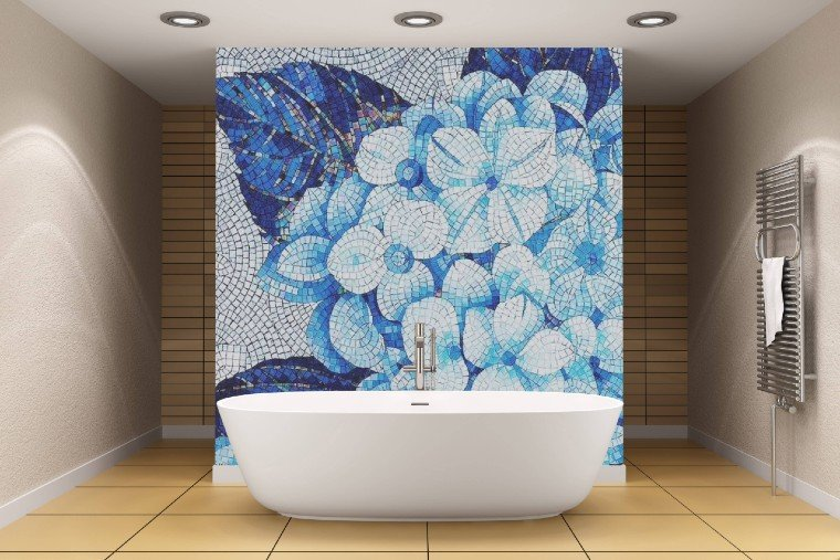 Gorgeous mosaic artwork backsplash for a bathroom