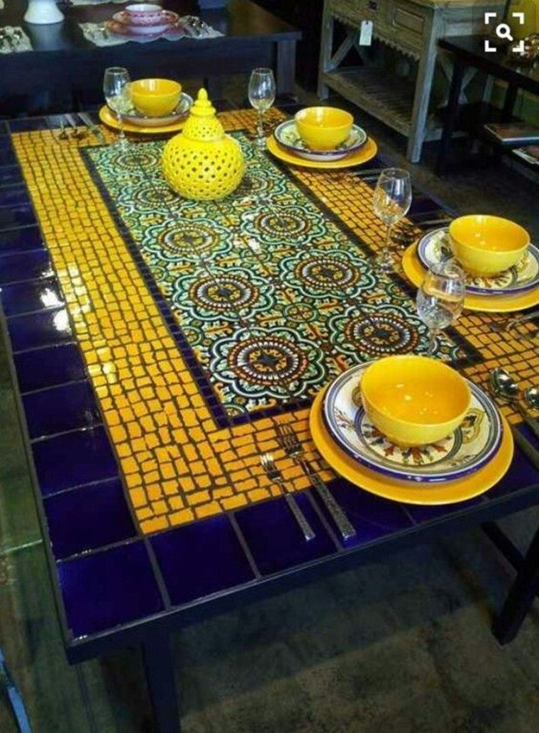 Beautiful mosaic inlay on a table.