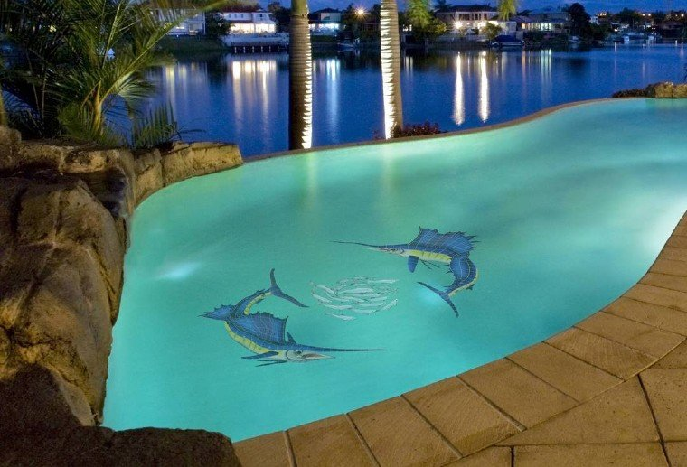Swordfish pool mosaic artwork