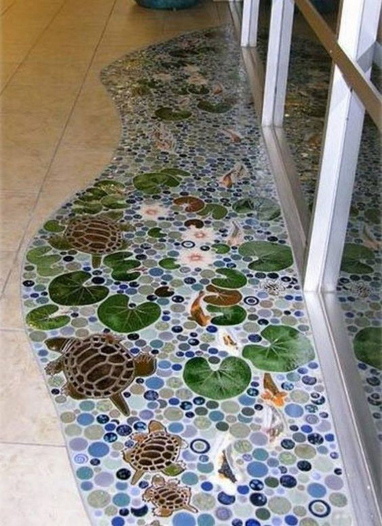 Gorgeous mosaic floor inlay