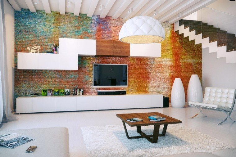 Colorful statement wall as a focal point