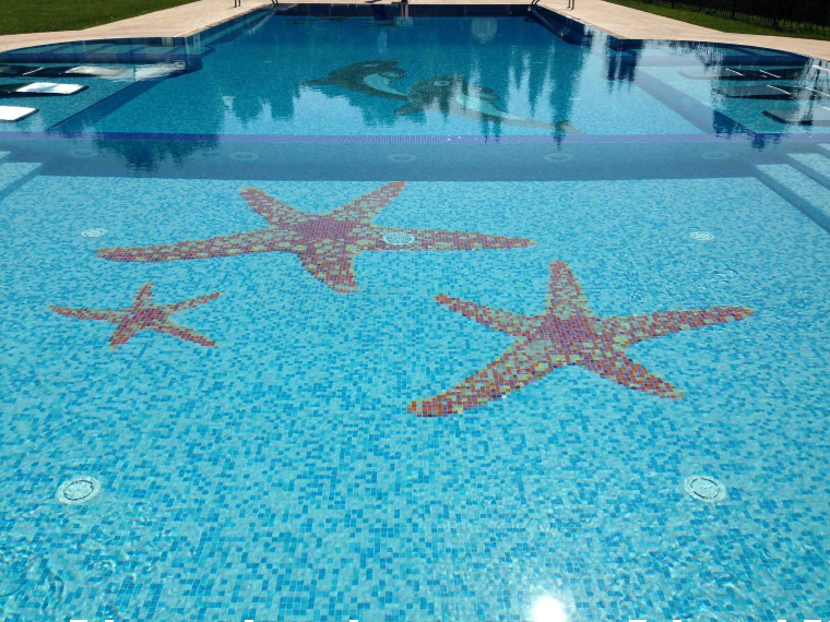 Beautiful pool mosaic star fish design