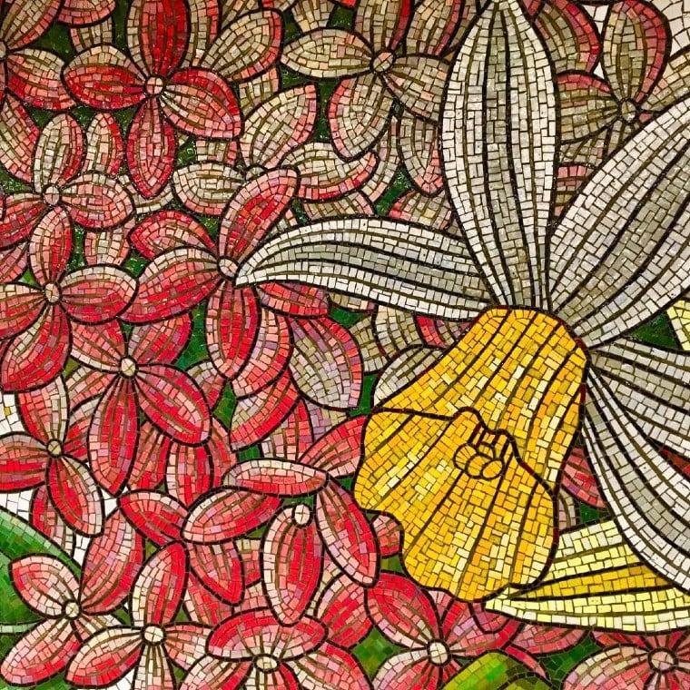 Stunning daffodil flower mosaic artwork.