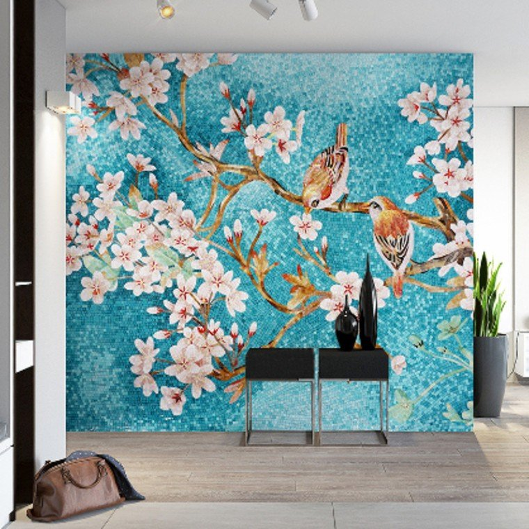Mosaic artwork makes a stunning feature wall.