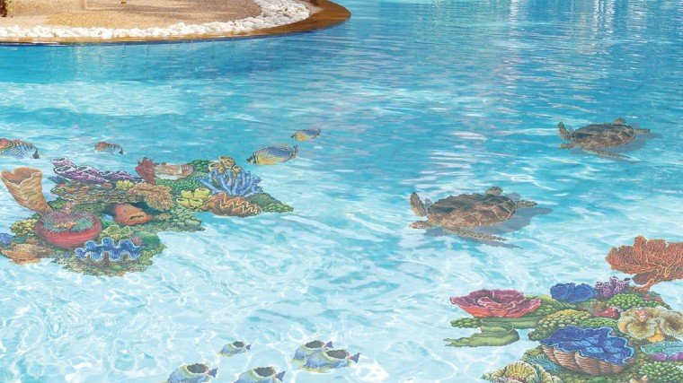 Intricate sea-life mosaic artwork