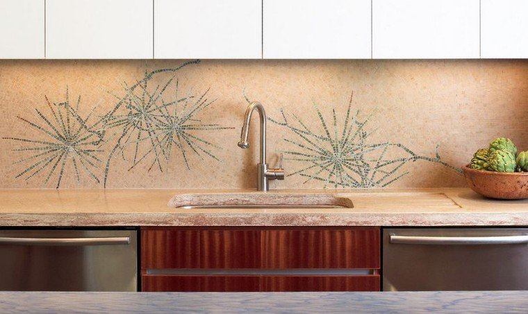 Contemporary Mosaic for Kitchen Backsplash.