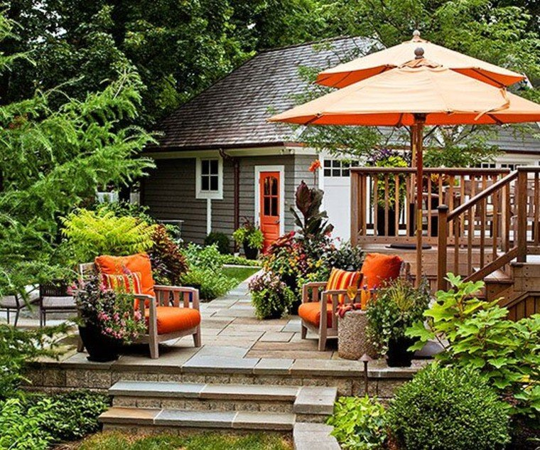 Beautiful and colorful umbrellas add colors and charm to your backyard