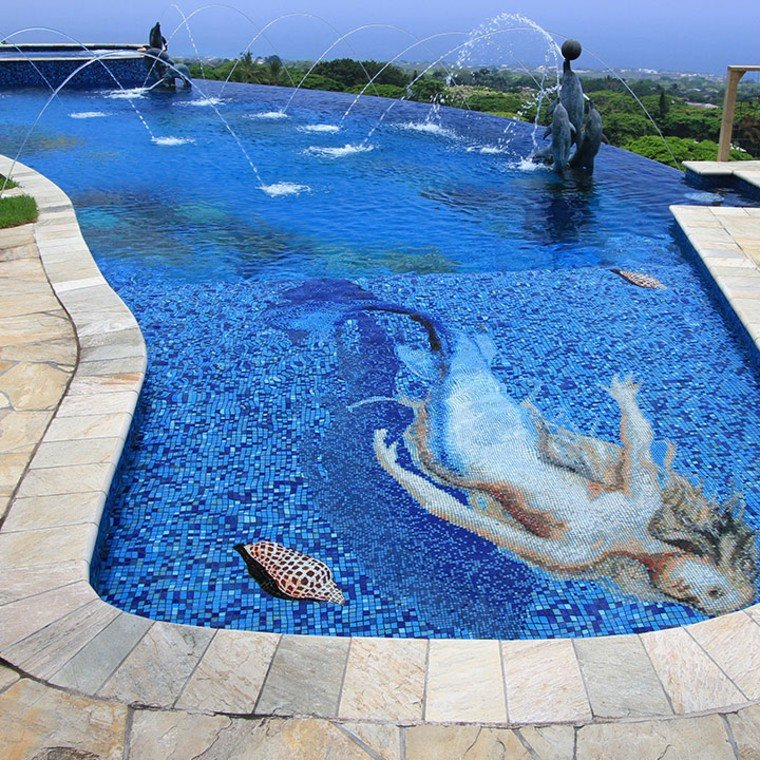 Stunning glass mosaic artwork of a mermaid for swimming pool.