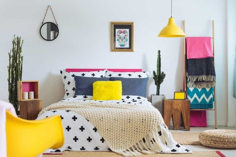 multiple and colorful textures bedroom design.