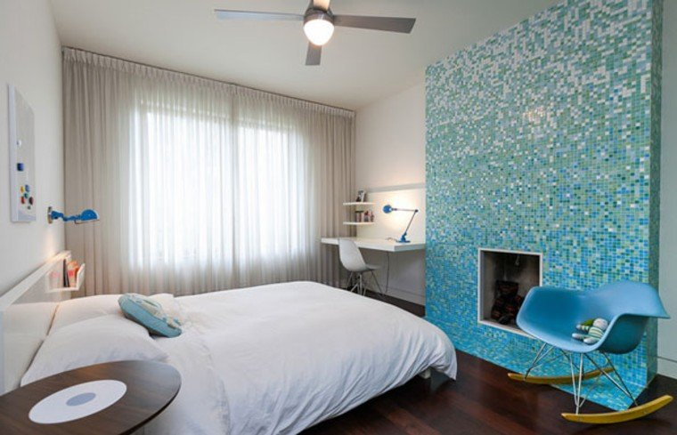 Stunning mosaic glass wall as a feature wall.