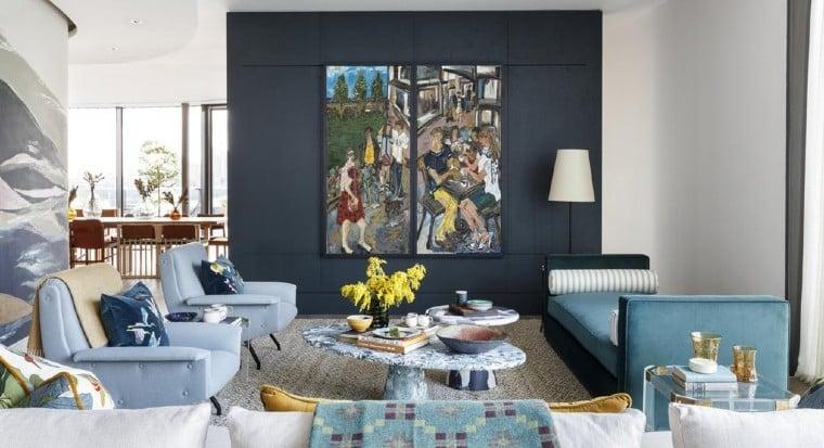Contemporary murals enhanced the interiors.