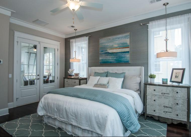 Blue bedroom interiors.