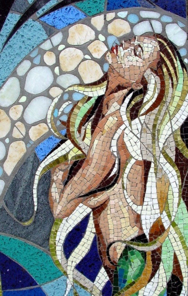 Stunning mermaid mosaic art by Carole Choucair