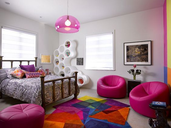 Flashy colorful teenager's room.  Design Inspiration by Mosaics Lab