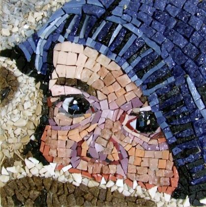 Beautiful Mosaic design of a baby by Michael Kruzich.