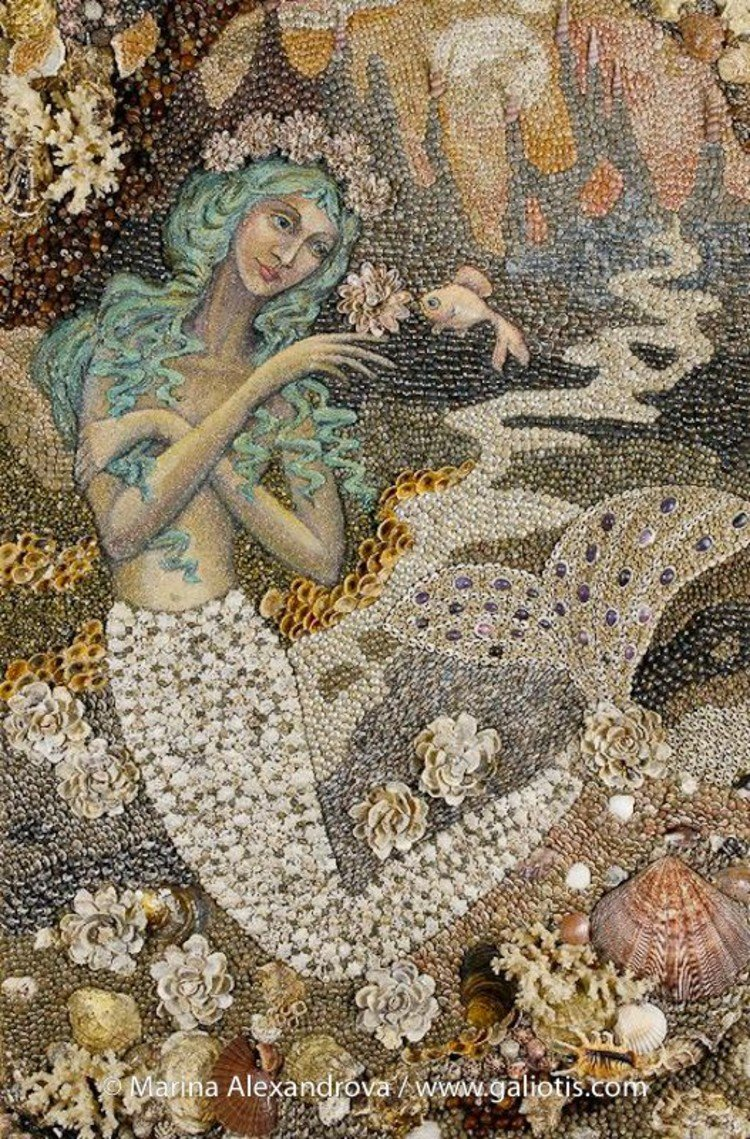 Beautiful Mosaic Design made of seashells.