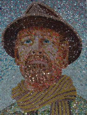 Molly B Right's Mosaic Artwork made of bottle cap. Mosaics Art Inspiration by Mosaics Lab