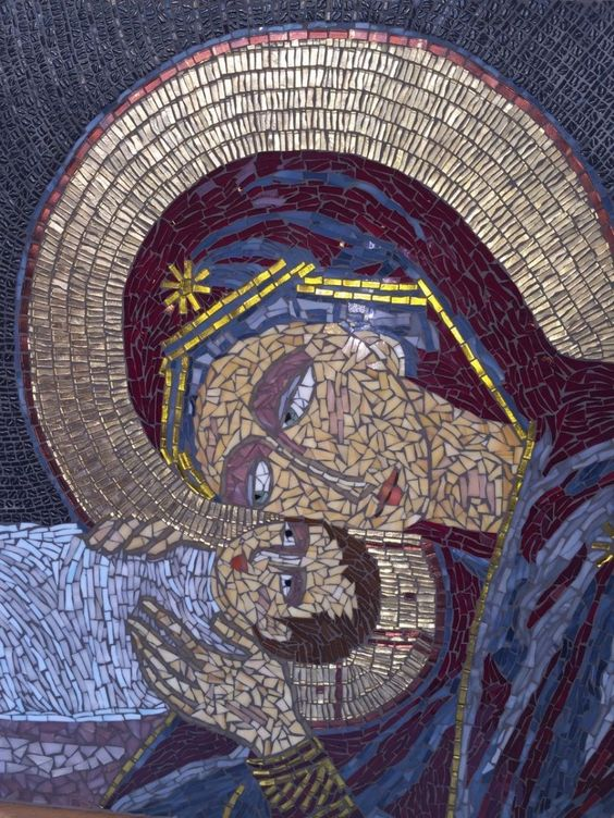 Madonna and child Mosaic masterpiece by Pamela Mauseth. Mosaic Art by Mosaics Lab