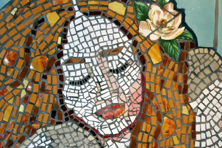 Mermaid mosaic design close-up.