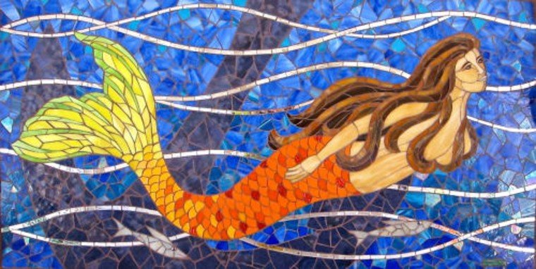 Gorgeous mermaid tile mosaic artwork.
