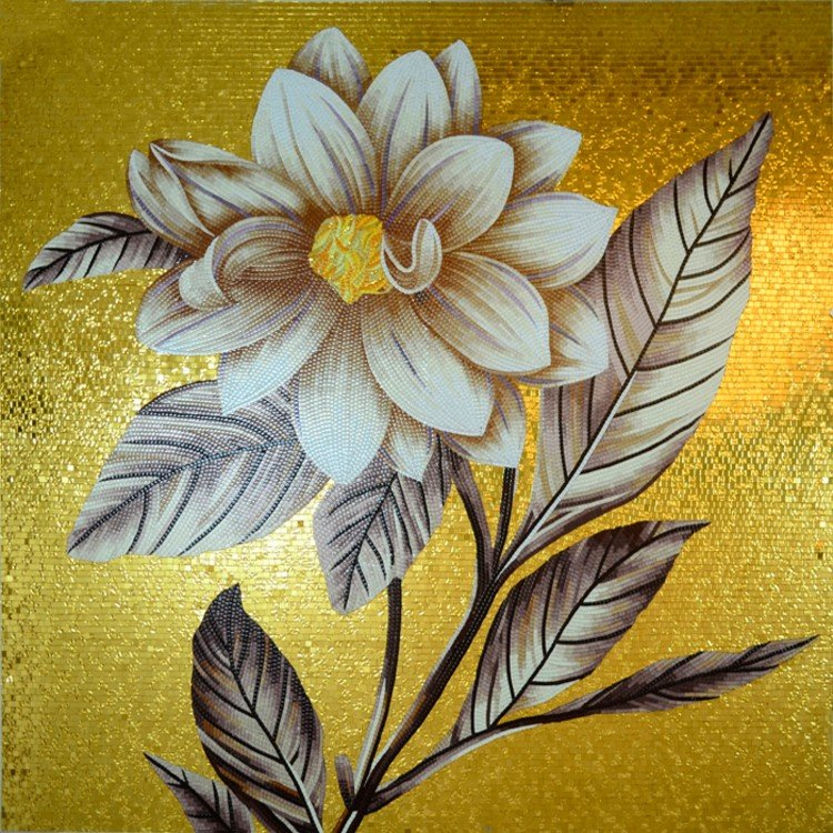 Regal Simplicity flower mosaic artwork by Mosaics Lab
