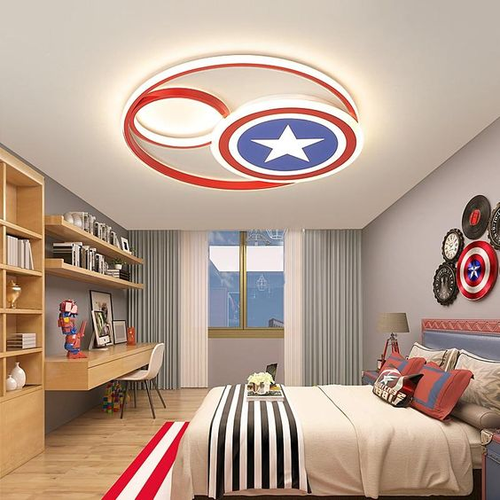 Marvel fan teenagers room interiors.  Design Inspiration by Mosaics Lab
