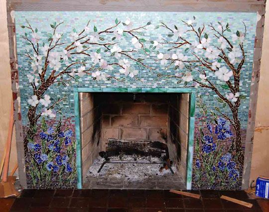 Gorgeous fireplace mosaic artwork