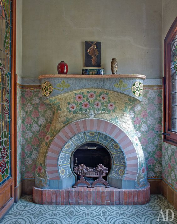 Exclusive mosaic fireplace.