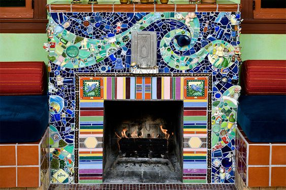 Colorful and beautiful mosaic fireplace.