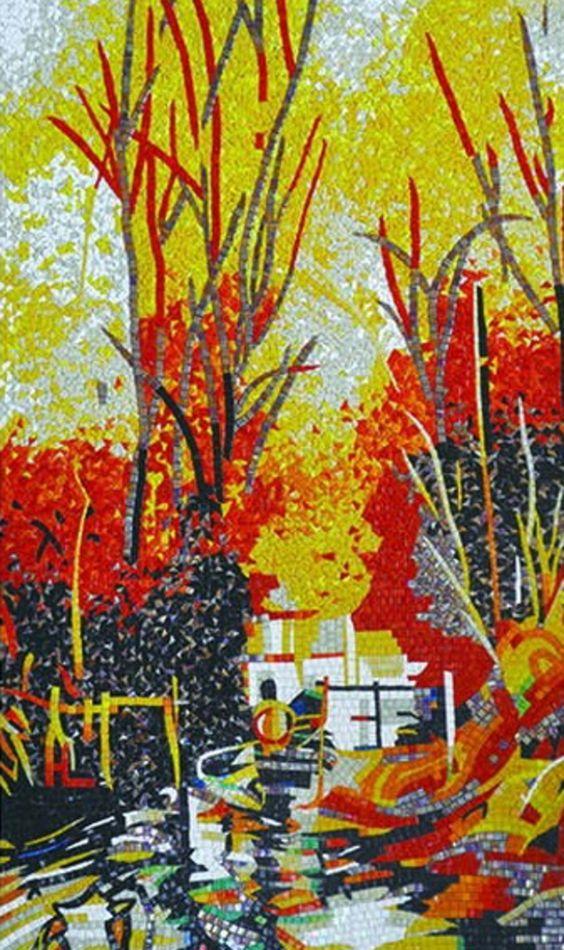 Fall mosaic mural by Mosaics Lab