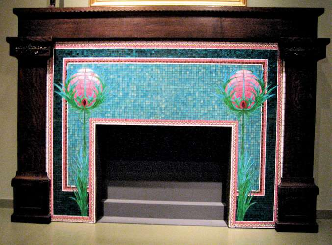 Gorgeous fireplace mosaic artwork.