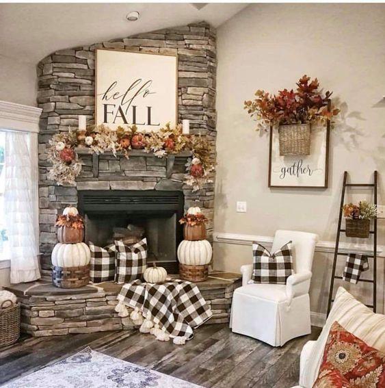 Calm and charming Fall based decor. Fall Decor ideas.
