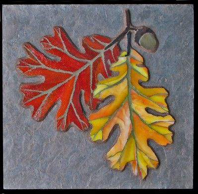 Oak leaves in the Fall mosaic design.