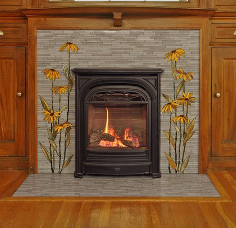 Charming and elegant fireplace mosaic design