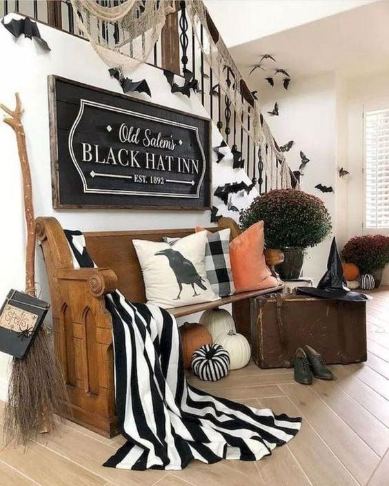 Movie-inspired home Halloween decor.