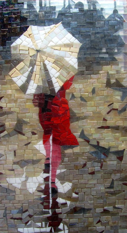Woman in red modern mosaic artwork | Mosaic Design inspiration by Mosaics Lab