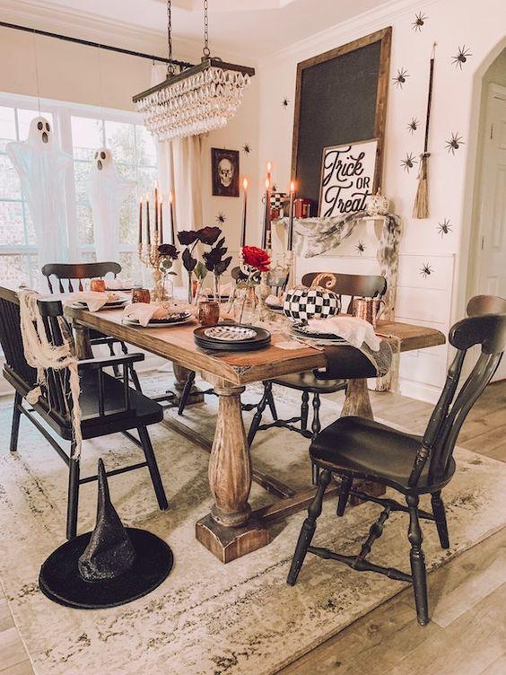 Gorgeous halloween inspired living room decor.
