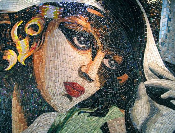 Custom Mosaic Portrait of a woman in a hat by Mosaics Lab.