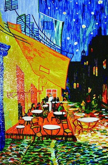 Mosaic reproduction of Cafe Terrace by Vincent Van Gogh. Mosaic Design by Mosaics Lab