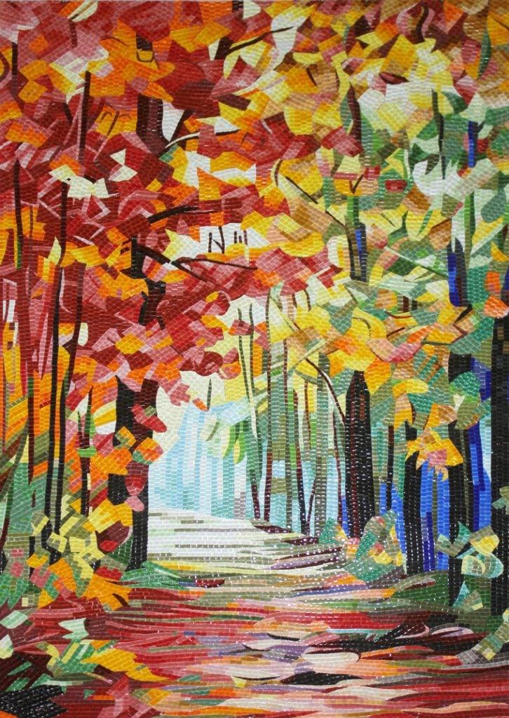 Gorgeous Fall mosaic mural artwork by Mosaics Lab