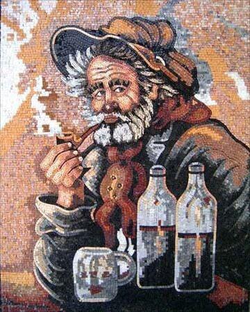 Mosaic portrait of a sailor by Mosaics Lab