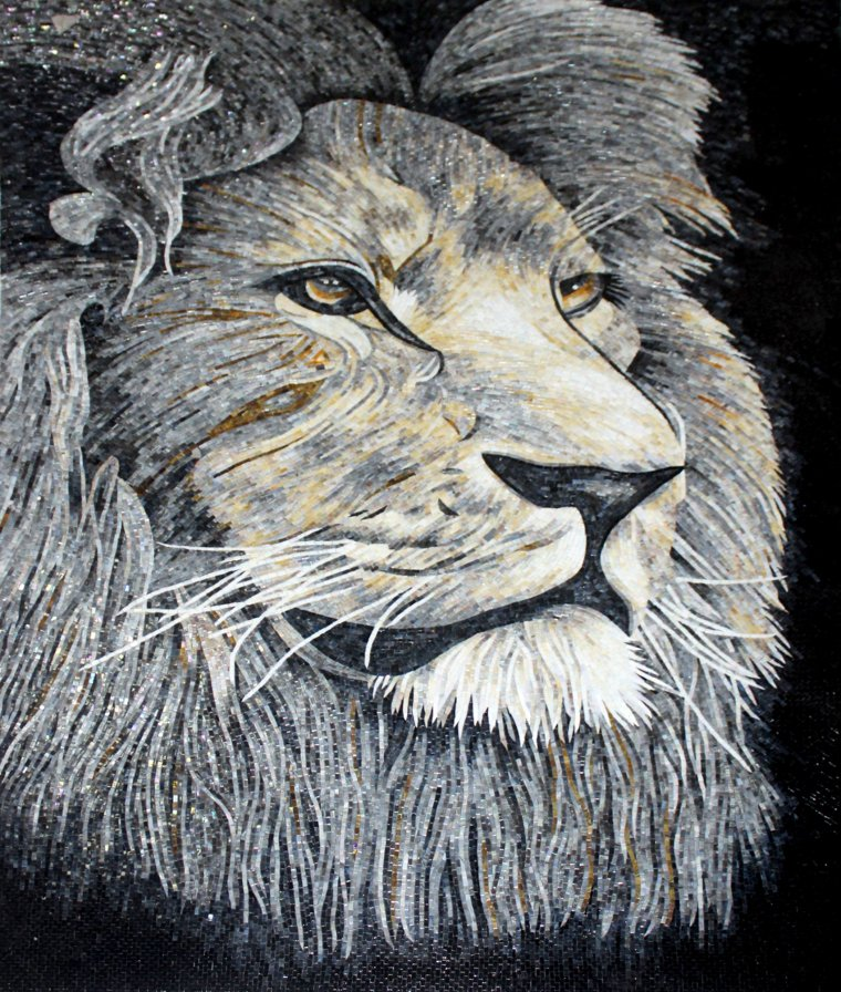 Stunning Mural Mosaic Design of a lion by Mosaics Lab.