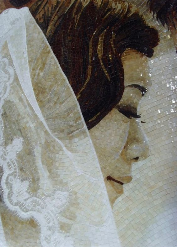 Handmade Mosaic portrait of a new bride by Mosaics Lab