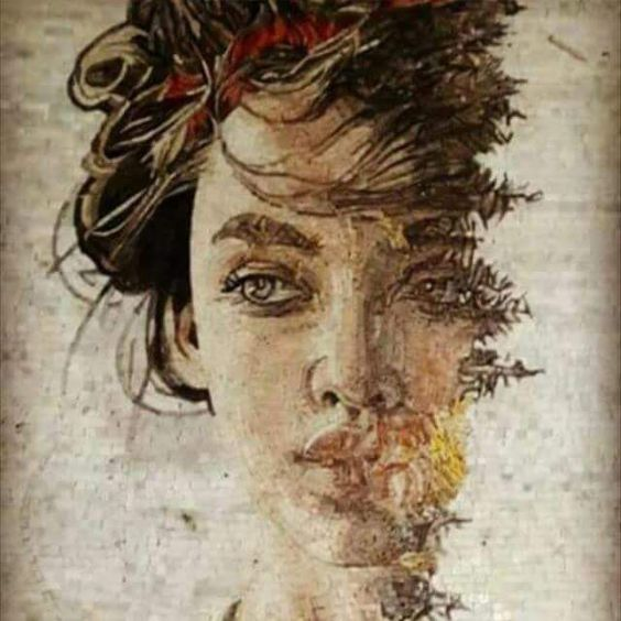 Gorgeous abstract mosaic portrait by Mosaics LAb