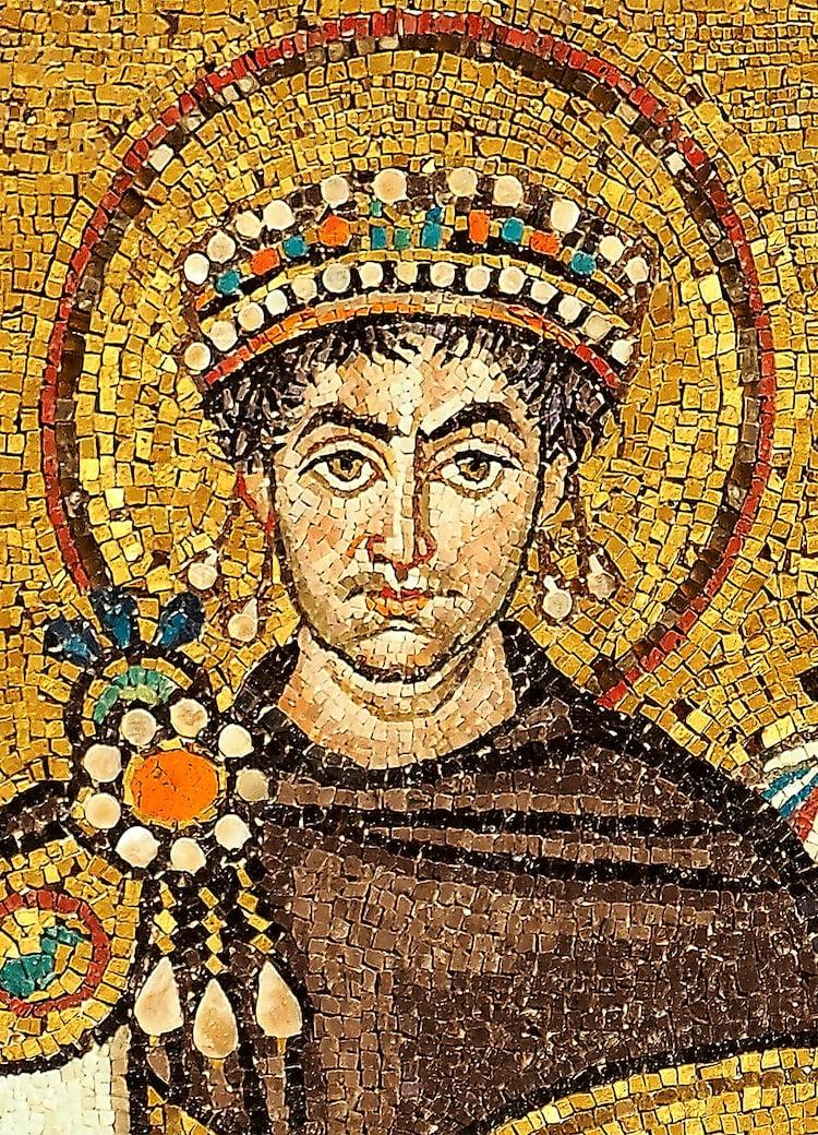 Ancient mosaic portrait of San Vitale, Ravenna.
