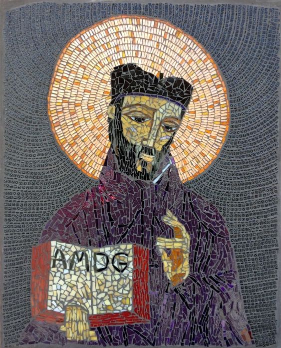 St. Ignatius mosaic portrait by Mosaics Lab