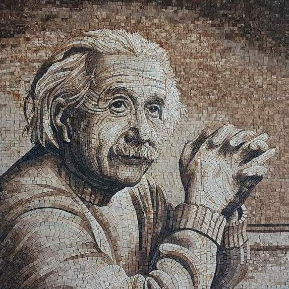 Handmade Mosaic Portrait of Albert Einstein by Mosaics Lab