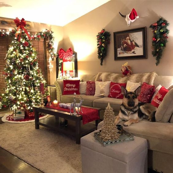 Red themed Christmas interiors. Christmas Inspiration by Mosaics Lab